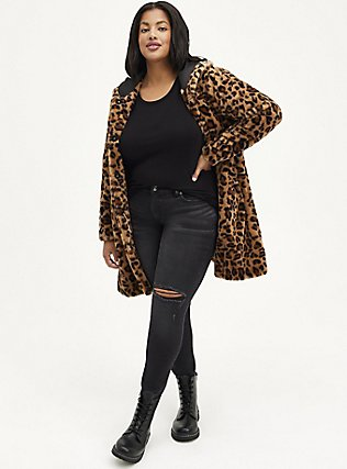 Leopard Faux Fur Hooded Coat, ANIMAL, hi-res