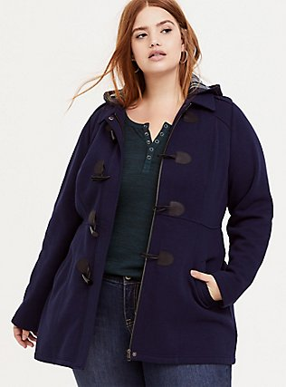 Navy Fleece Hooded Toggle Coat, PEACOAT, hi-res