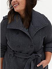 Dark Grey Herringbone Fleece Lined Double-Breasted Coat, GREY, alternate