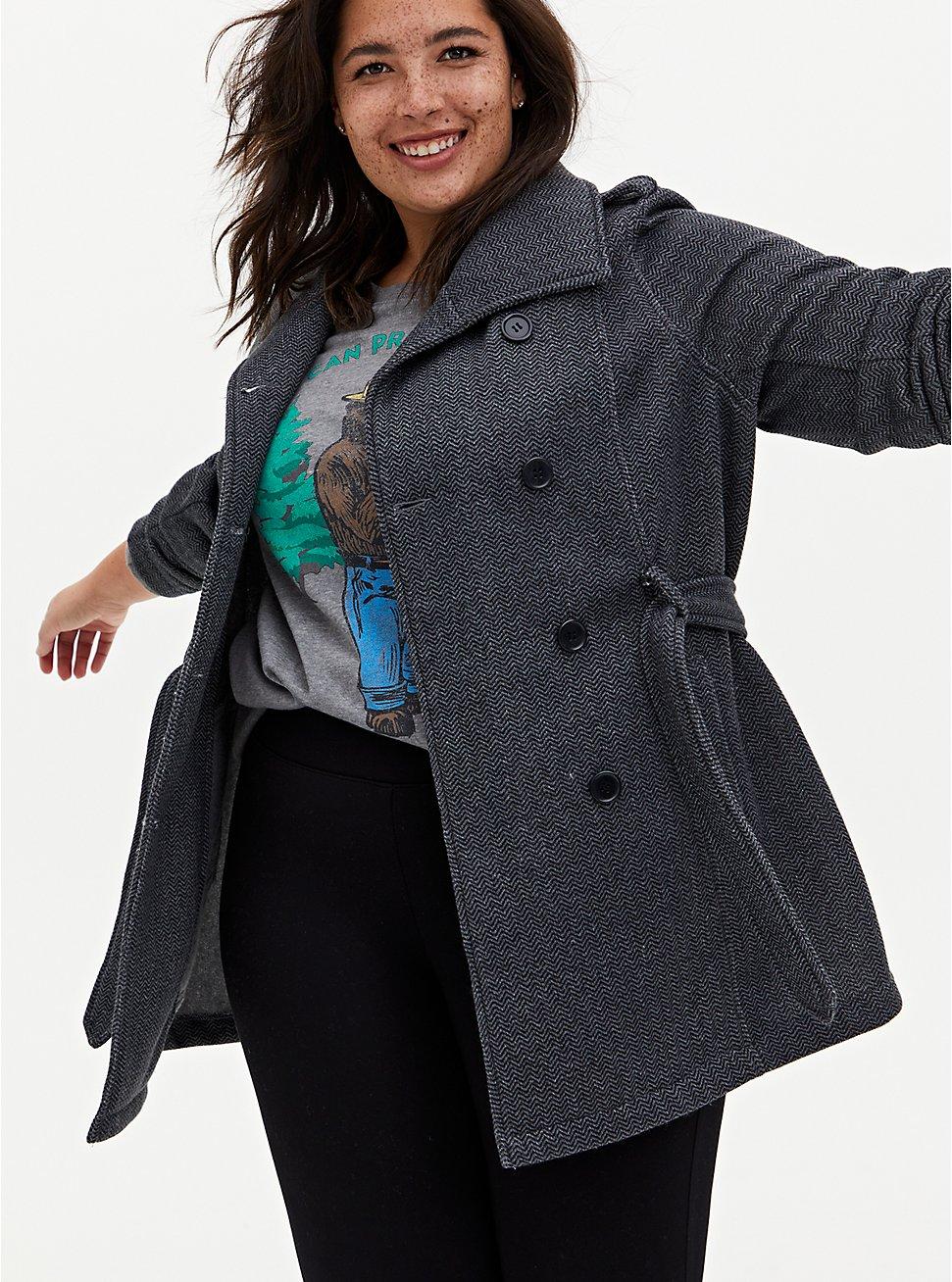 Dark Grey Herringbone Fleece Lined Double-Breasted Coat, GREY, hi-res