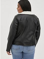 Plus Size Black Faux Leather Sherpa Lined Moto Jacket, DEEP BLACK, alternate