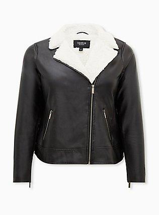 Black Faux Leather Sherpa Moto Jacket, DEEP BLACK, flat