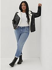 Plus Size Black Faux Leather Sherpa Lined Moto Jacket, DEEP BLACK, hi-res