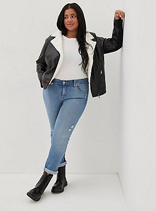 Black Faux Leather Sherpa Moto Jacket, DEEP BLACK, hi-res