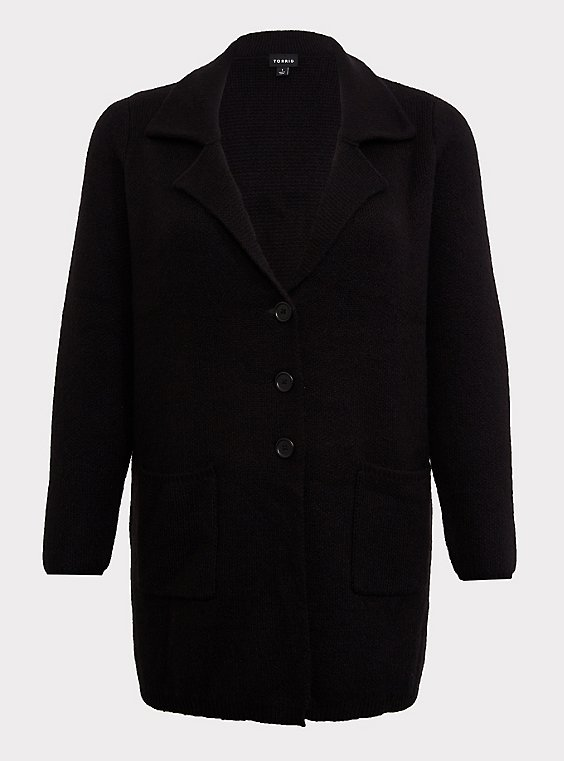 Black Notched Lapel Sweater Coat, , flat