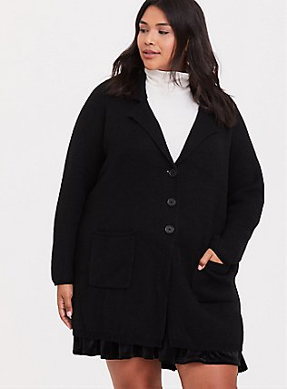 Plus Size Black Notched Lapel Sweater Coat, DEEP BLACK, hi-res