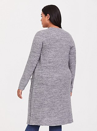 Plus Size Super Soft Plush Grey Pocket Longline Cardigan, GREY, alternate