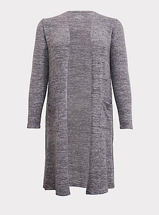 Plus Size Super Soft Plush Grey Pocket Longline Cardigan, GREY, flat