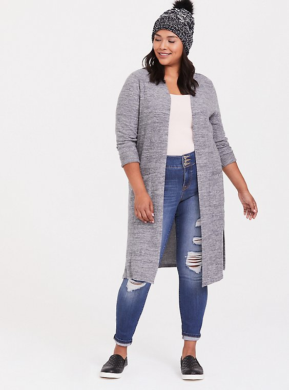 Super Soft Plush Grey Pocket Longline Cardigan, , hi-res