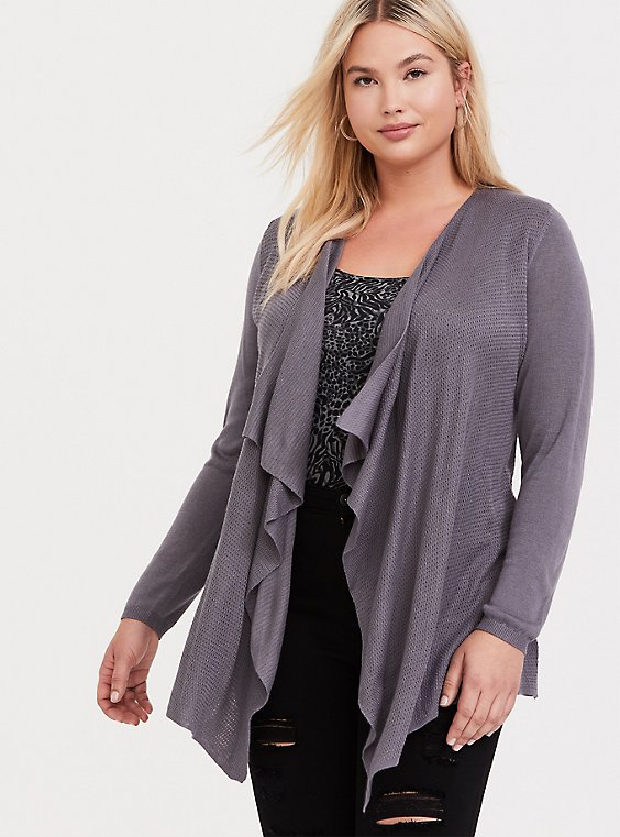 Slate Grey Mixed Stitch Drape Front Cardigan, , hi-res