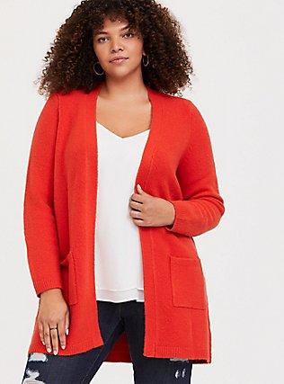 Blood Orange Brushed Longline Cardigan, VALIANT POPPY, hi-res