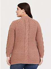 Taupe Cable Knit Button Front Boyfriend Cardigan, WARMED STONE, alternate