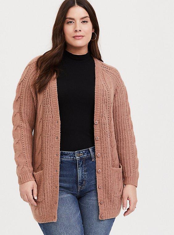 Plus Size Taupe Cable Knit Button Front Boyfriend Cardigan, , hi-res