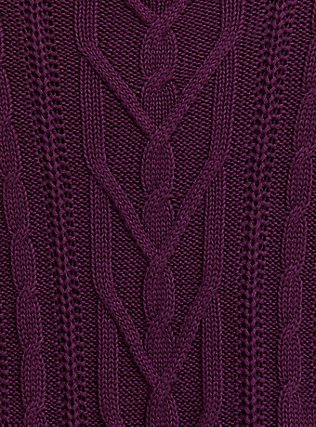Burgundy Purple Cable Knit Open Shoulder Tunic, HIGHLAND THISTLE, alternate