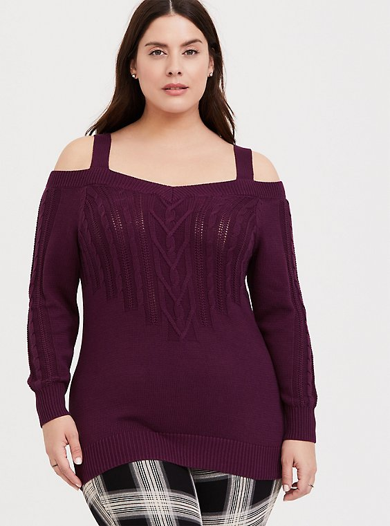 Burgundy Purple Cable Knit Open Shoulder Tunic, , hi-res