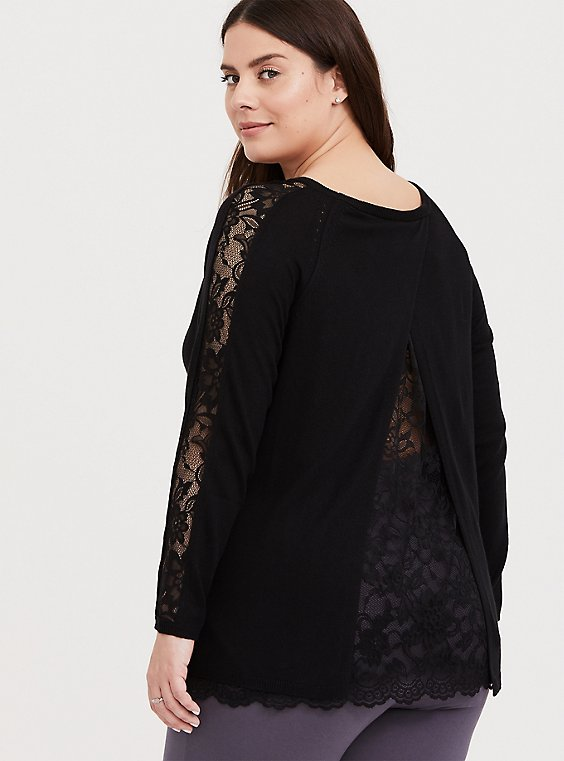 Black Lace Split Back 2Fer Tunic Sweater, , hi-res