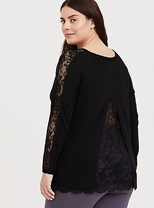 Black Lace Split Back 2Fer Tunic Sweater, DEEP BLACK, hi-res