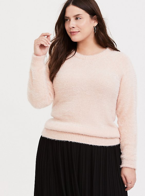 Blush Pink Fuzzy Knit Pullover Sweater, , hi-res