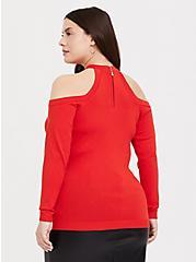 Orange Crisscross Cold Shoulder Top, VALIANT POPPY, alternate