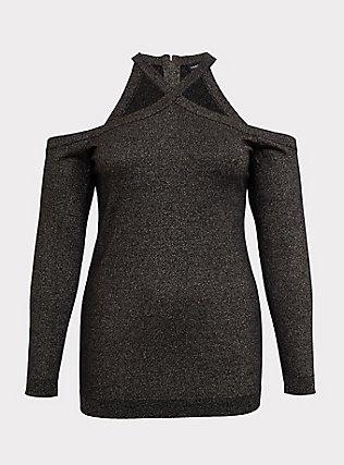 Black & Gold Metalic Crisscross Cold Shoulder Top, DEEP BLACK, flat
