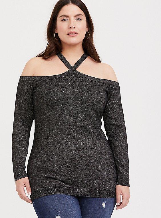 Plus Size Black & Gold Metalic Crisscross Cold Shoulder Top, , hi-res