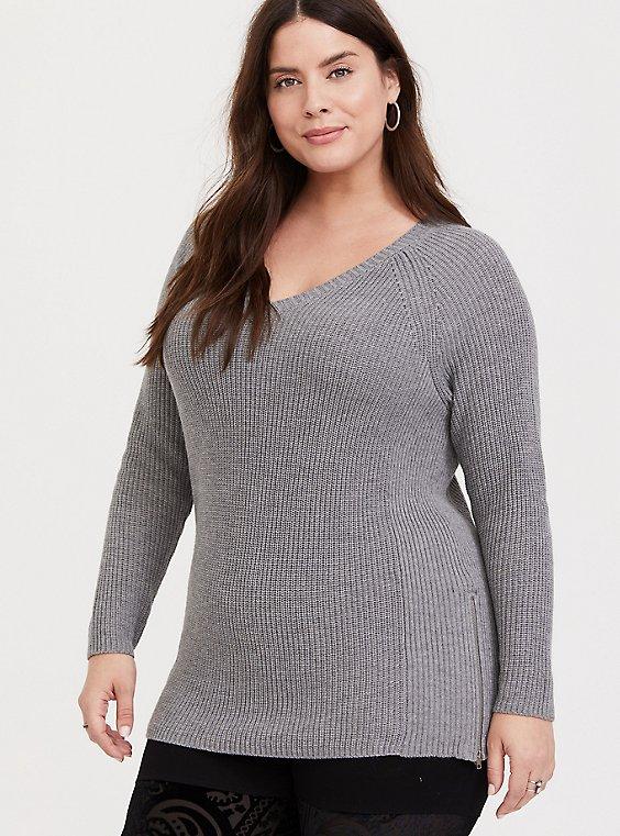 Plus Size Grey Raglan Sleeve Ribbed Pullover Tunic, , hi-res