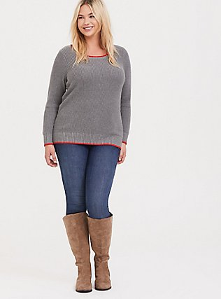 Grey Rib & Blood Orange Trim Pullover Sweater, GREY, hi-res