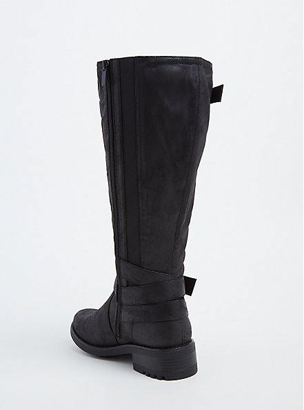 Black Faux Leather Buckle Knee-High Boot (WW & Wide To Extra Wide Calf), BLACK, alternate