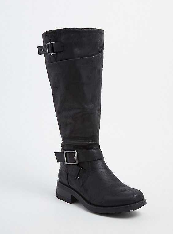 Plus Size Black Faux Leather Buckle Knee-High Boot (WW & Wide To Extra Wide Calf), , hi-res