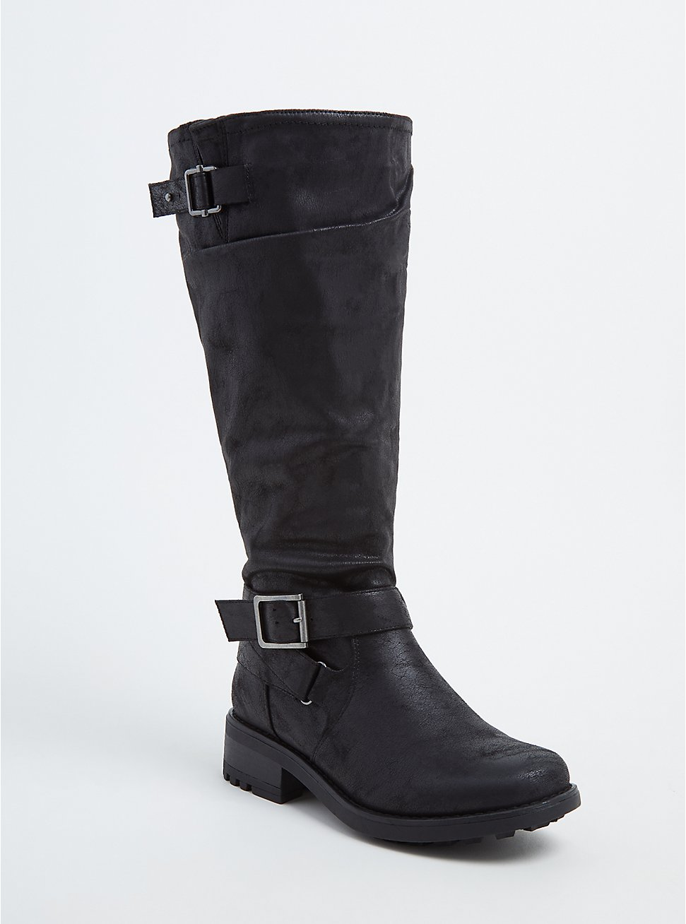 Black Faux Leather Buckle Knee-High Boot (WW & Wide To Extra Wide Calf), BLACK, hi-res
