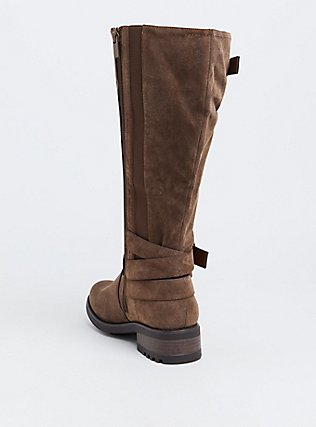 Brown Oiled Faux Leather Knee-High Boot (WW & Wide To Extra Wide Calf), BROWN, alternate