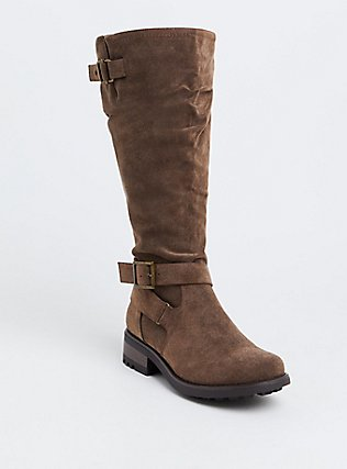 Brown Oiled Faux Leather Knee-High Boot (WW & Wide To Extra Wide Calf), BROWN, hi-res