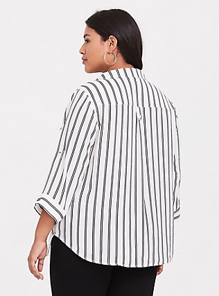 Madison - White & Black Stripe Georgette Button Front Blouse, PLAYFUL STRIPE, alternate