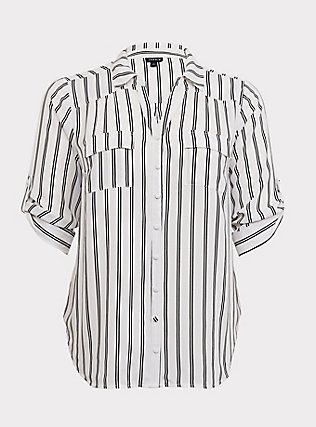 Madison - White & Black Stripe Georgette Button Front Blouse, PLAYFUL STRIPE, flat