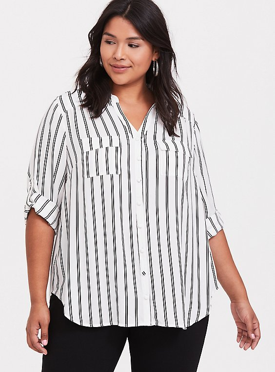 Madison - White & Black Stripe Georgette Button Front Blouse, , hi-res