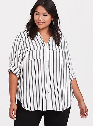 Madison - White & Black Stripe Georgette Button Front Blouse, PLAYFUL STRIPE, hi-res
