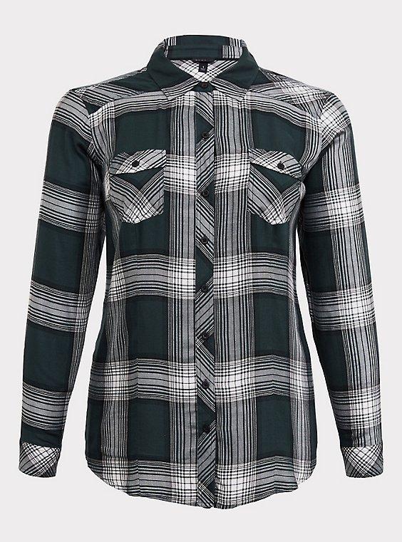Taylor - Green Plaid Twill Button Front Slim Fit Shirt, , flat