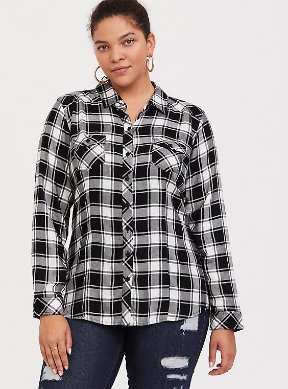 Taylor - Black & White Plaid Twill Button Front Slim Fit Shirt, , hi-res