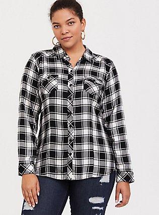 Taylor - Black & White Plaid Twill Button-Front Camp Shirt, BUFFALO BLOCK PLAID, hi-res