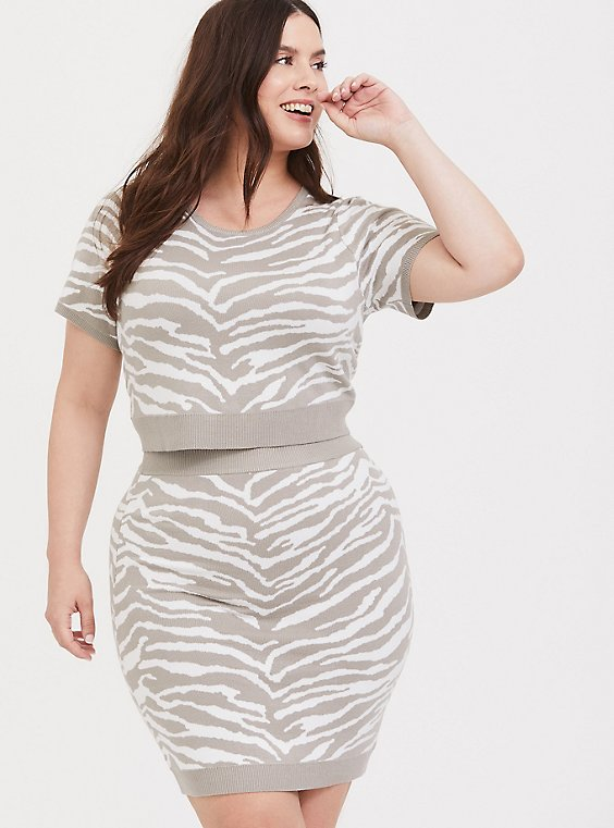 Taupe Zebra Sweater-Knit Crop Top & Mini Skirt Set, , hi-res