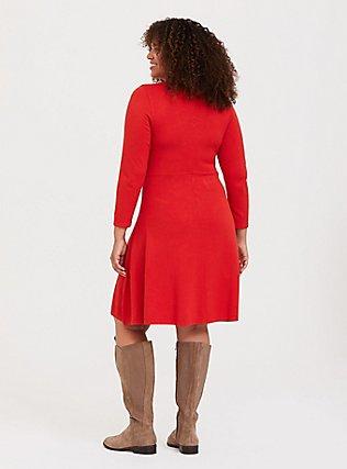 Red Sweater-Knit Lattice Skater Dress, VALIANT POPPY, alternate