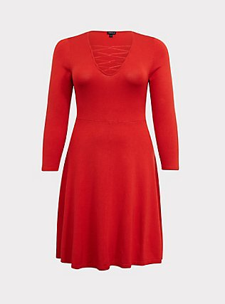 Red Sweater-Knit Lattice Skater Dress, VALIANT POPPY, flat