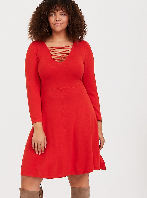 Plus Size Red Sweater-Knit Lattice Skater Dress, , hi-res