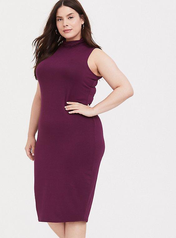 Burgundy Purple Jersey Mock Neck Bodycon Midi Dress, , hi-res