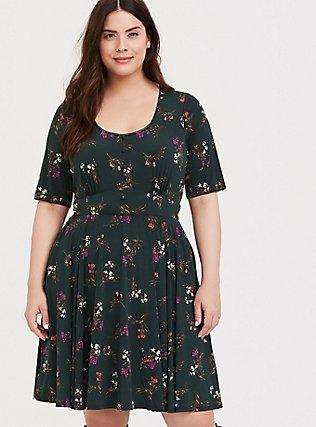 Dark Green Floral Studio Knit Button Skater Dress, FLORAL - GREEN, hi-res