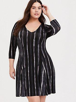 Black & White Stripe Jersey Trapeze Dress, STRIPE -BLACK, hi-res