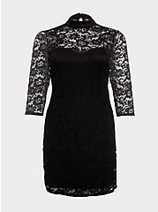 Plus Size Black Lace Mock Neck Sheath Dress, DEEP BLACK, hi-res