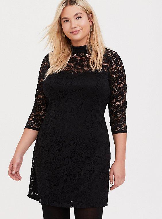 Black Lace Mock Neck Sheath Dress, , hi-res