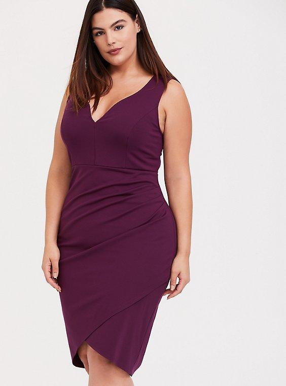 Burgundy Purple Premium Ponte Bodycon Dress, , hi-res