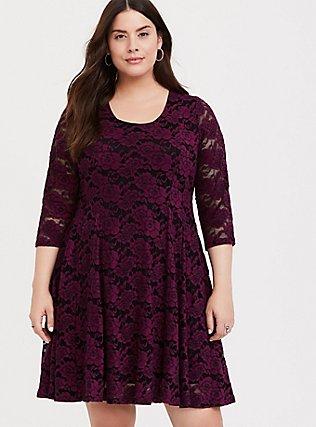 Burgundy Purple Lace Fluted Dress, HIGHLAND THISTLE, hi-res
